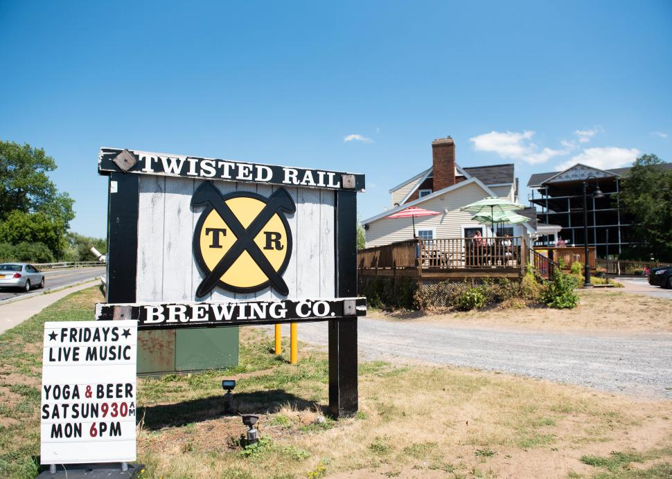 Exterior sign for Twisted Rail Brewing in Canandaigua