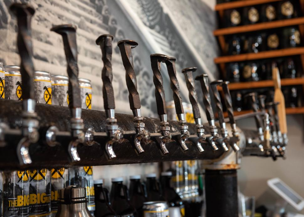 Closeup of taps inside of Twisted Rail Brewing in Canandaigua