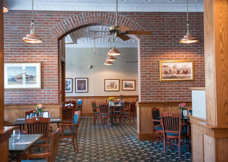 Interior of the seating area at Warfields Restaurant in Clifton Springs
