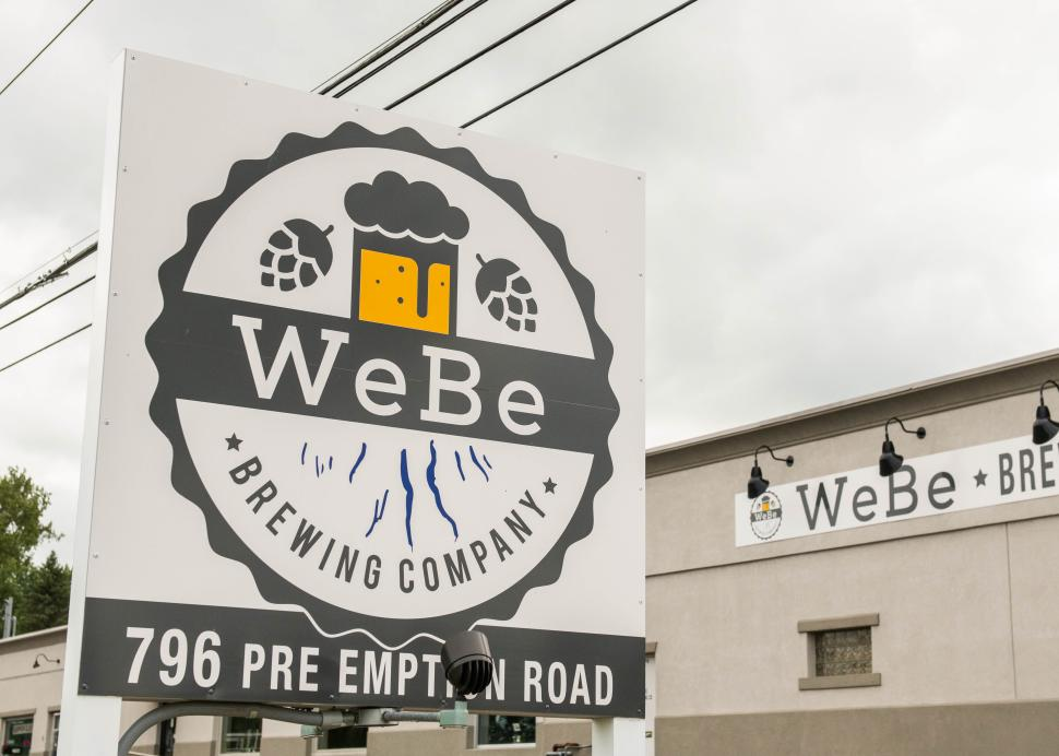 Exterior sign for WeBe brewing company