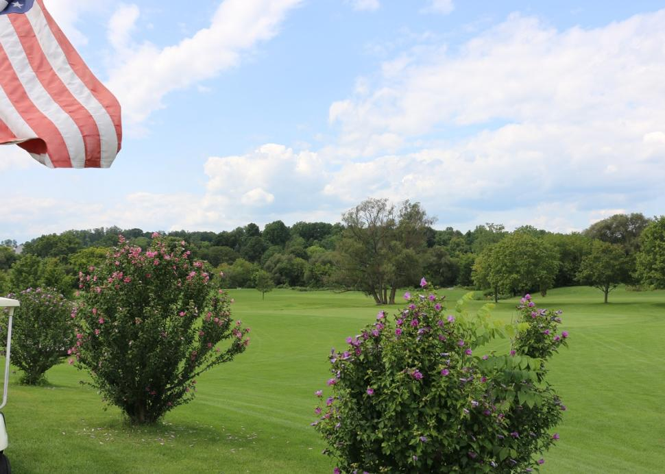 The scenic view of the golf course at Winding Creek Golf Club in Victor