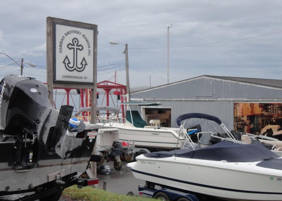 Boat service building at German Brothers Marina
