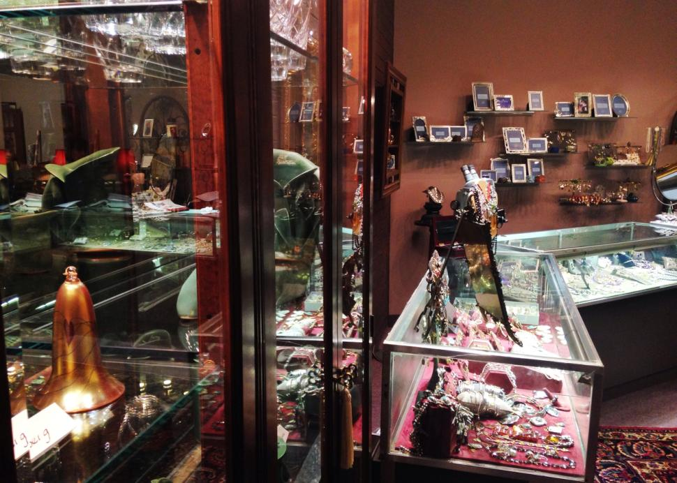 display cases at 45 East Ave Jewelers