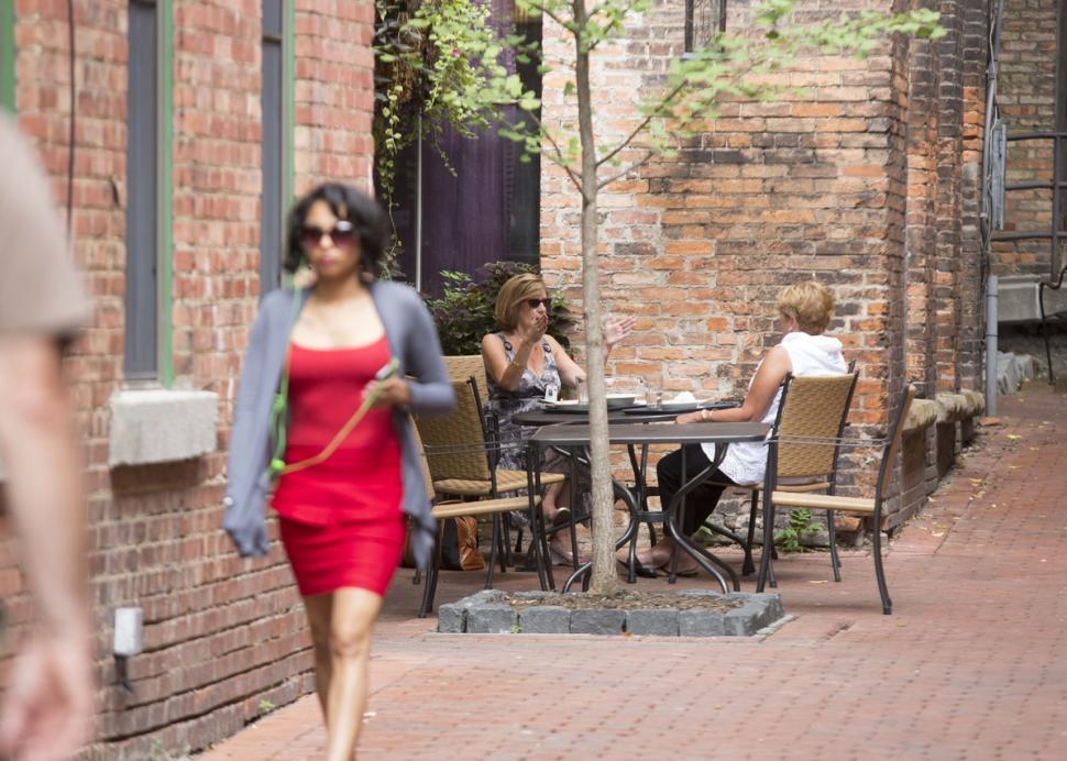 Trendy woman walking