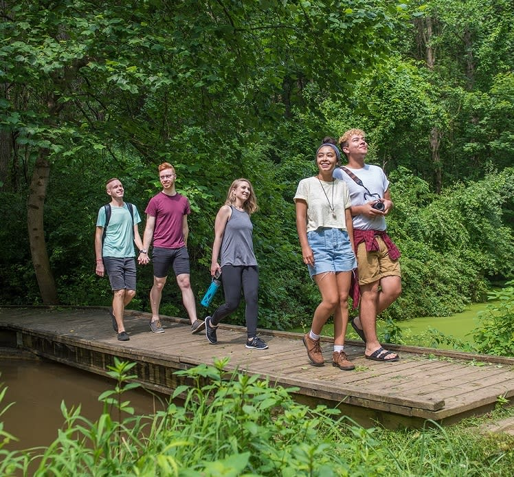Friends & Couples Walking Across Small Wooden Bridge at Nixon Park