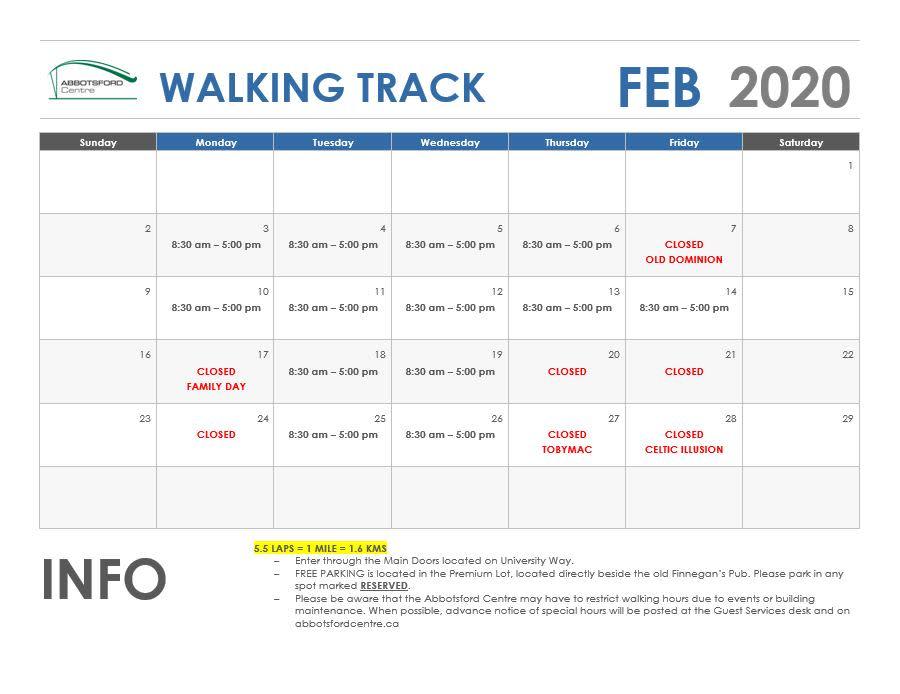 February 2020 Walking Track
