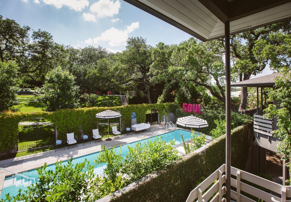 Hotel Saint Cecilia pool and terrace in Austin Texas