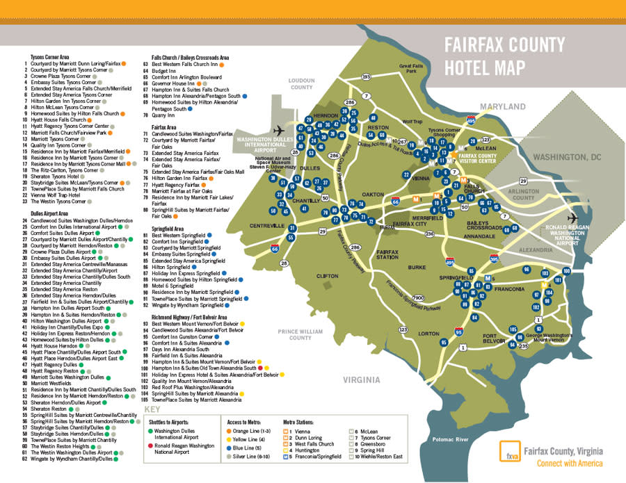 Fairfax County Map Fairfax County Hotels Fxva