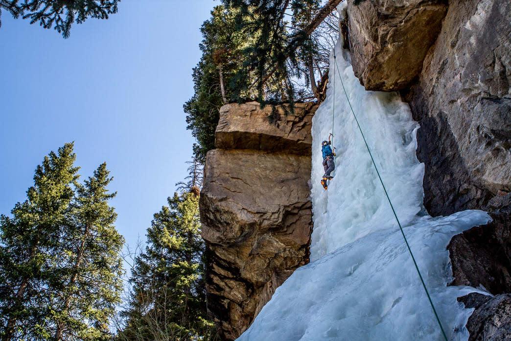 Person Ice Climbing near Estes Park, CO