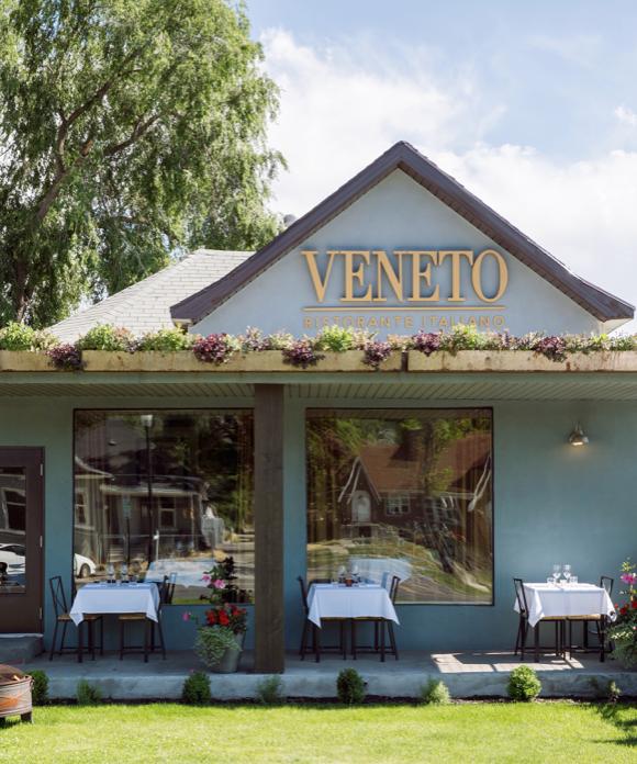 Exterior of Veneto Ristorante in spring