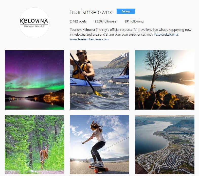 Tourism Kelowna Instagram (April 23, 2018)