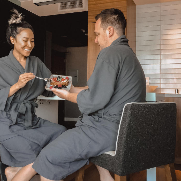 Amanda and Scott Enjoying a Cinnamon Bun in the Marriott Irvine Spectrum