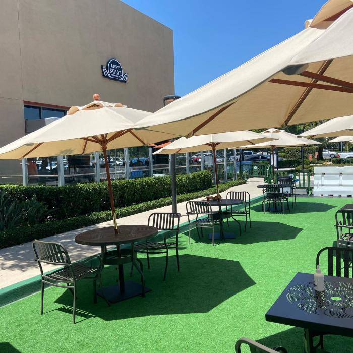 Left Coast Brewing in Irvine has set up a social-distance-friendly outdoor dining space.
