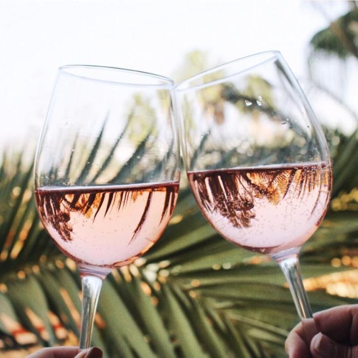 Wine glasses at Hive & Honey in Irvine