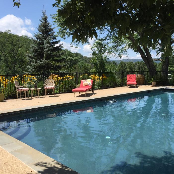 Pool chairs and seating at the Fieldstone Pool in Loudoun County