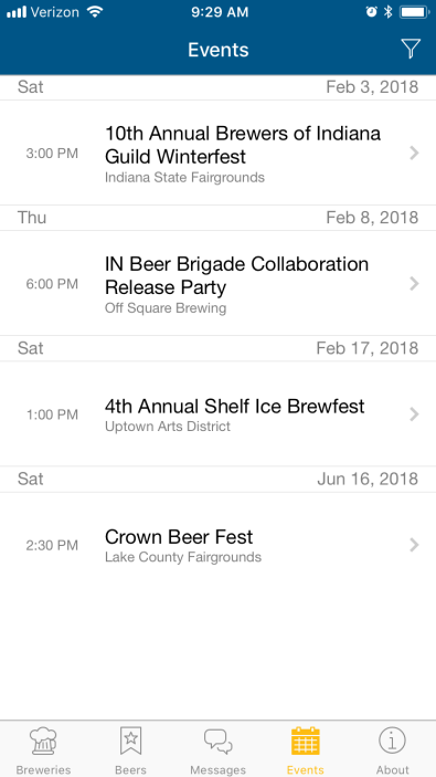 Brewery Trail App Screenshot - Events