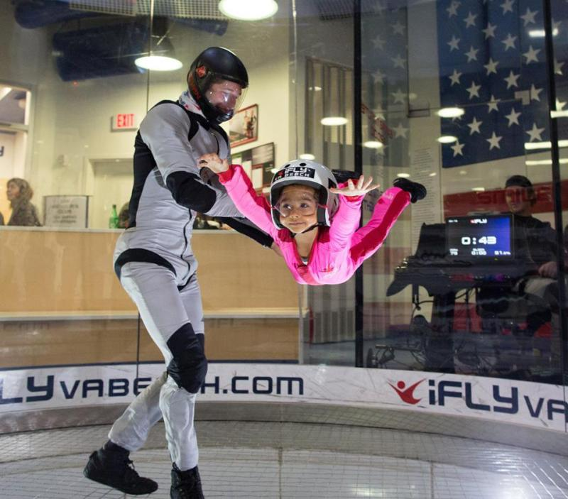 Child and Instructor at iFly Indoor Sky Diving in Virginia Beach