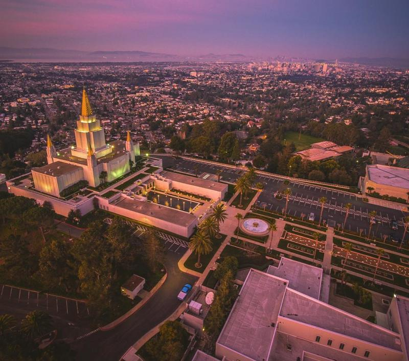Oakland Mormon Temple aerial view at dusk