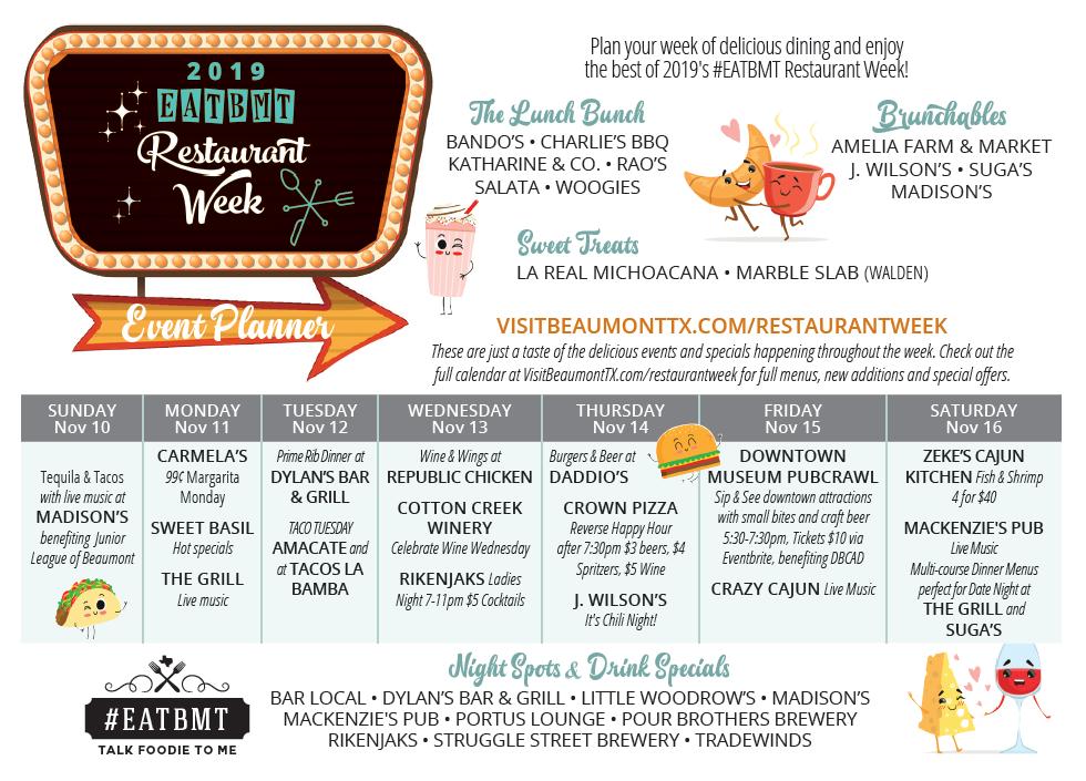 Weekly plan for Beaumont Restaurant Week 2019