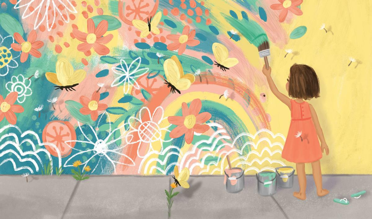 "Illustration by Talitha Shipman of a little girl painting a mural. Illustration is called ""Finding Beauty Mural"""