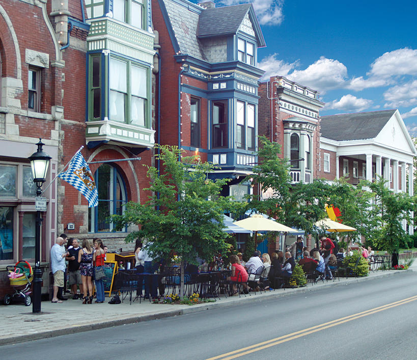 A row of Nineteenth Century homes in Mainstrasse Village