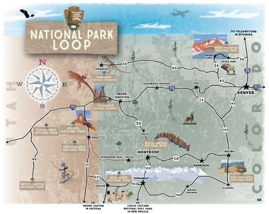 National Parks Loop map
