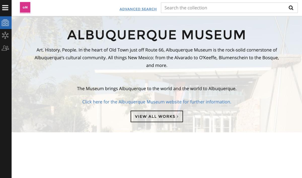 Screenshot of the Albuquerque Museum's E-Museum