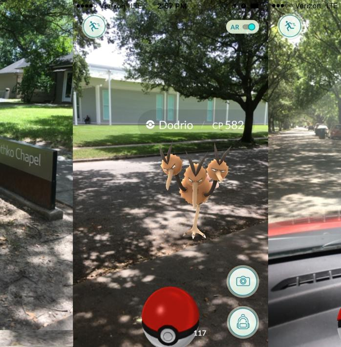 Screen captures from Pokemon Go in Houston's Discovery Green park