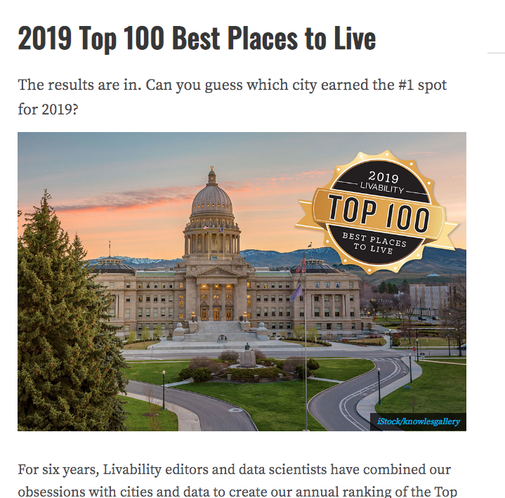 2019 Top 100 Best Places to Live