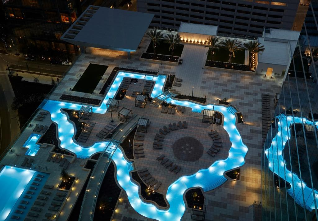 Marriott Marquis Texas Shaped Lazy River At Night