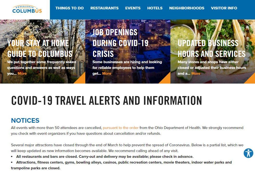 Experience Columbus Landing Page
