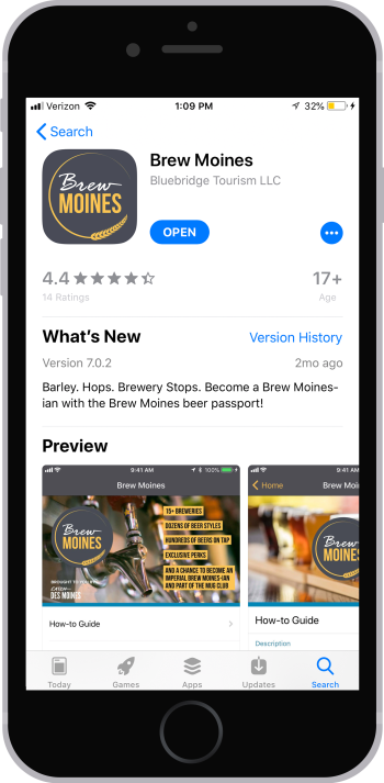 Brew Moines App Store download screen
