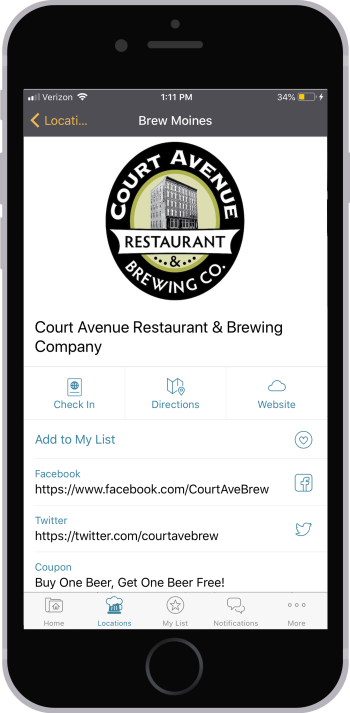 Brew Moines app individual location