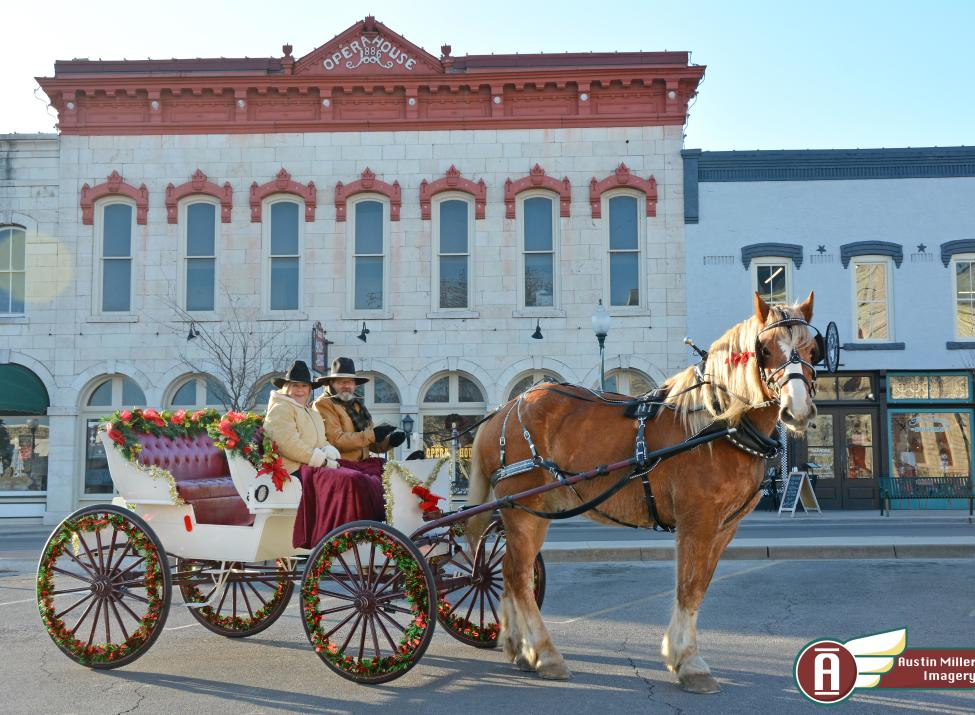 Valor and carriage in front of the Historic Opera House, Granbury Texas