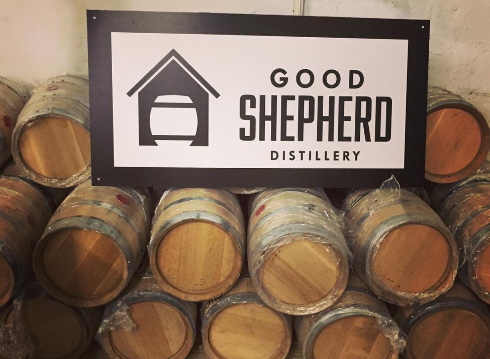 Good shepherd distillery barrels and logo