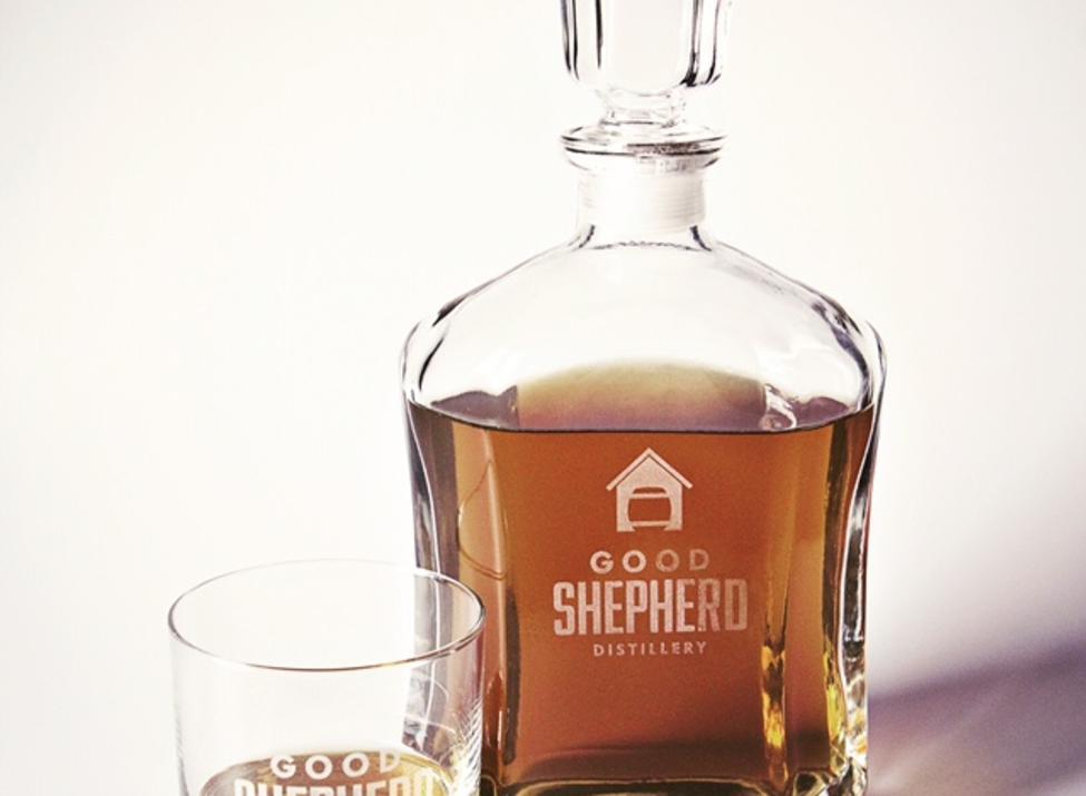 Good shepherd distillery bottle and glass