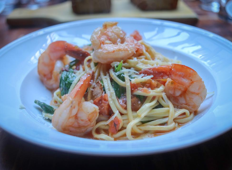 Granita shrimp linguine