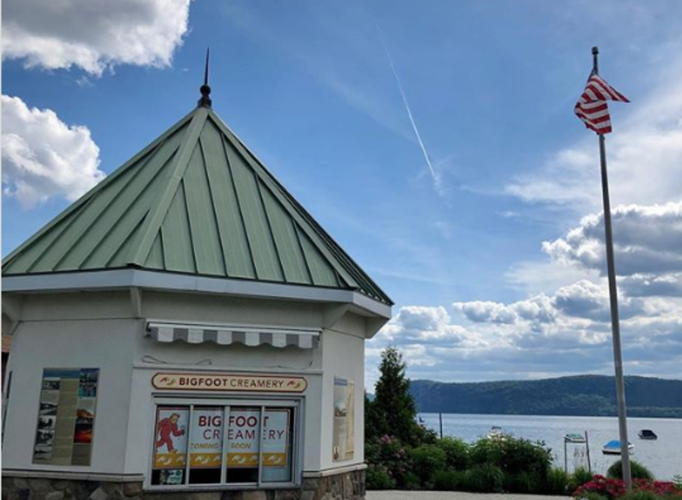 Bigfoot Creamery kiosk beside the Hudson River