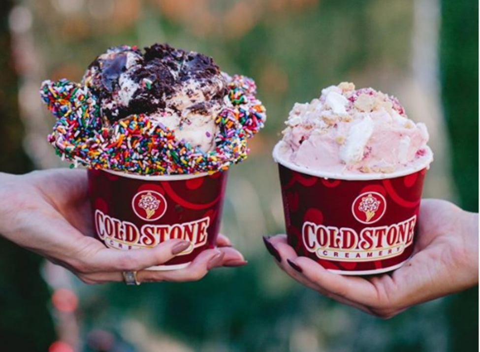 Cold Stone - 2 cups in hands