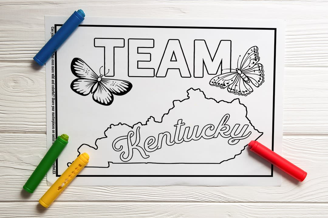 Coloring Page underneath crayons with the text Team Kentucky and drawings of butterflies.