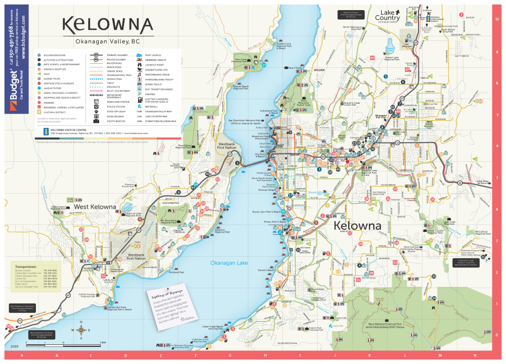 Map Of Canada Showing Kelowna.Getting Around Kelowna Maps Directions Information