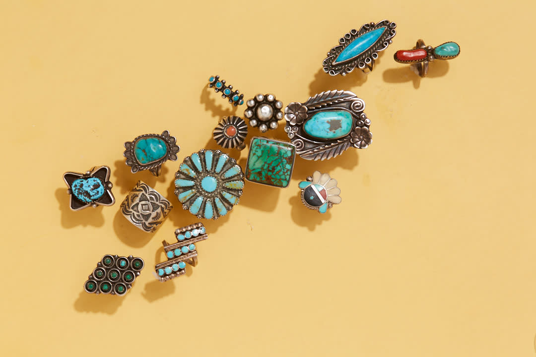 An assortment of turquoise jewelry