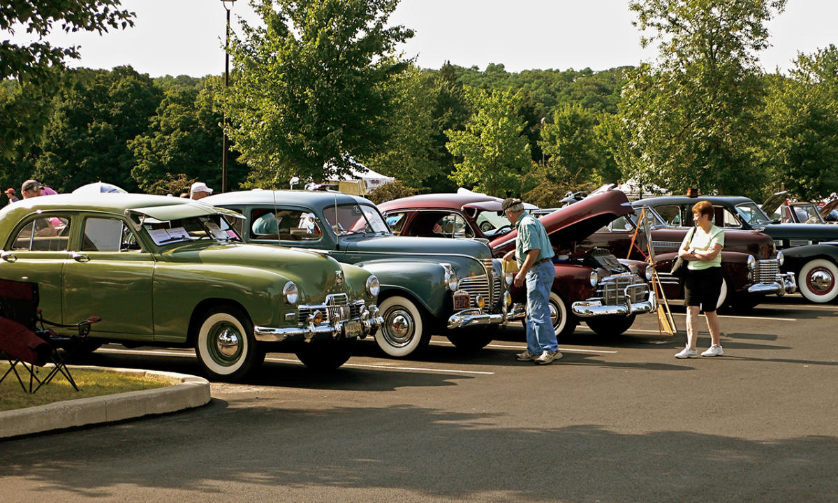 New Hope Automobile Show, attendees browsing classic cars