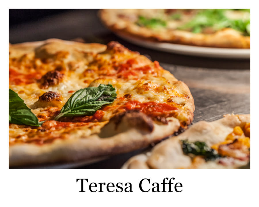 A fire grilled pizza from Teresa Caffe