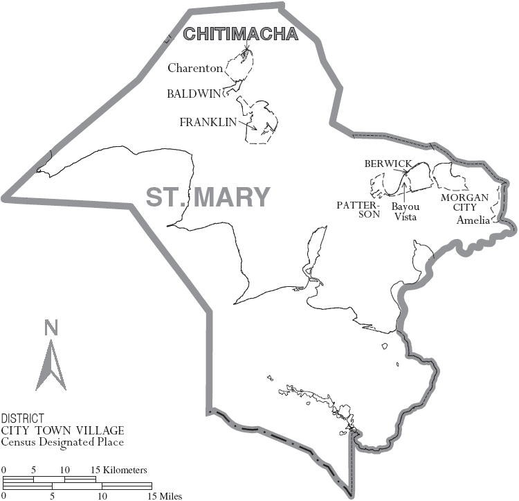 Map of St. Mary Parish, Louisiana With Municipal Labels