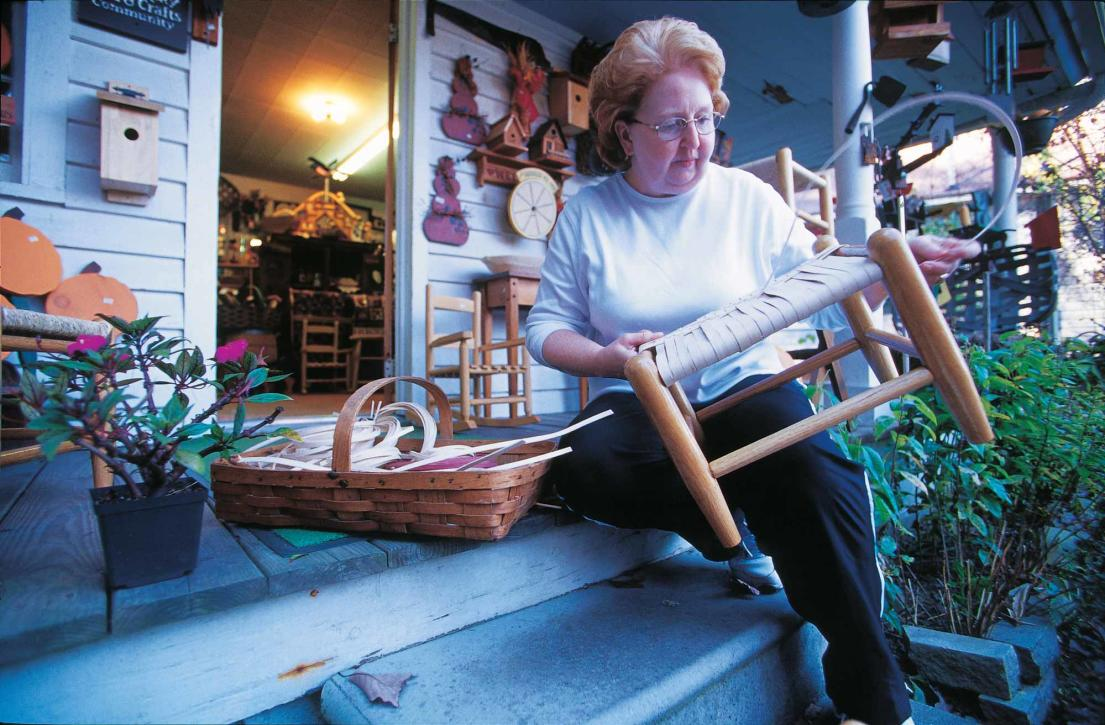 Woman Making Chair By Hand