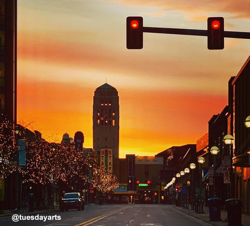 Sunset over State Street in downtown Ann Arbor