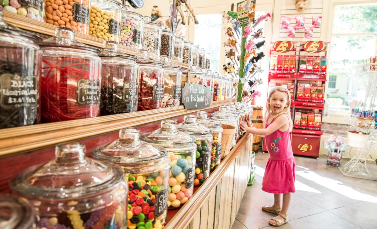 Charlotte at the Candy Bank in Mandeville