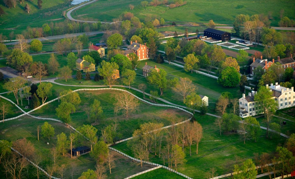 A bird's eye view photo of Shaker Village at Pleasant Hill Kentucky