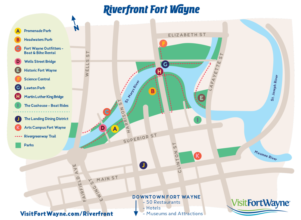 Riverfront Fort Wayne Map